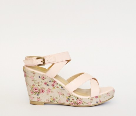 Kanabis pink floral wedges