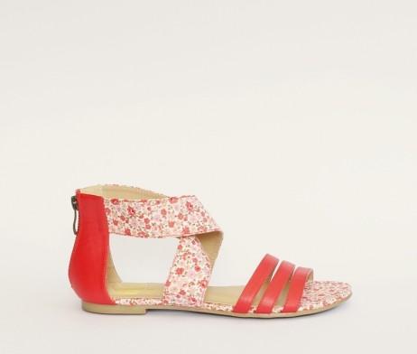 Kanabis red floral sandals