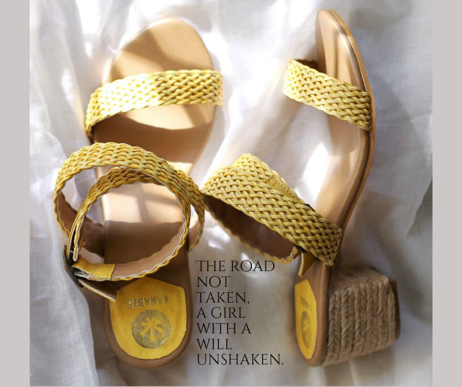 Yellow Brick block heel jute sandals