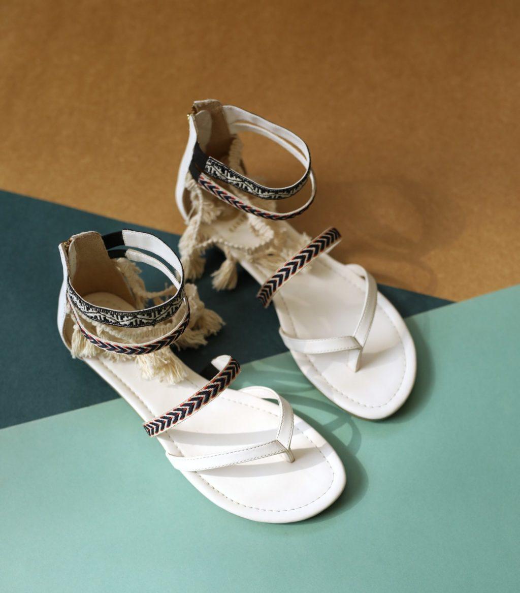 Tassel Tales white sandal