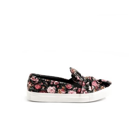 Be my bow black floral sneakers