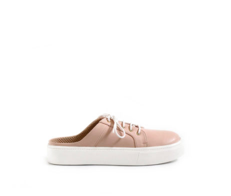 Sneaky Surprise nude pink open back sneakers