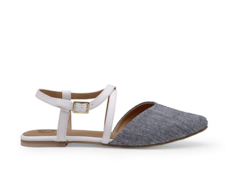 Kanabis Grey Denim Cross Strap Belly Sandals