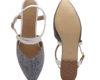 Kanabis Denim On Point Grey & White Cross Strap Sandals