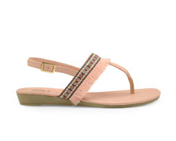 Kanabis Pink T-Strap Lacy Flats