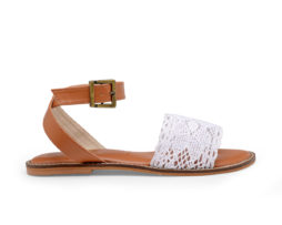 Kanabis Crossroads cross straps white lace sandals