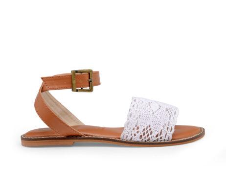 Kanabis Crossroads cross straps white lace sandals