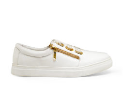 Kanabis Golden Zipped White Satin Lace Sneakers