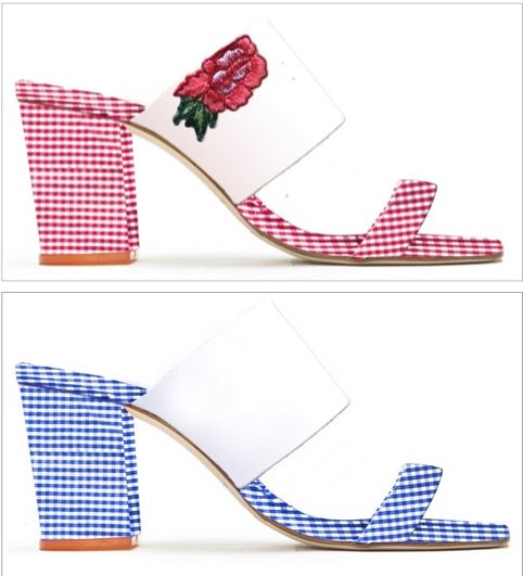 Gingham check block heels