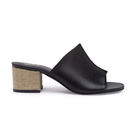 Kanabis black mules jute block heels