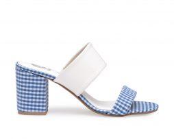 Kanabis block heels gingham blue white checks