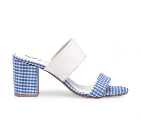 Kanabis block heels gingham blue white checks
