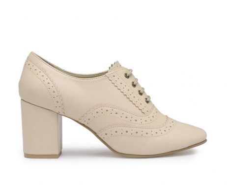 Girl Boss beige block heel brogues
