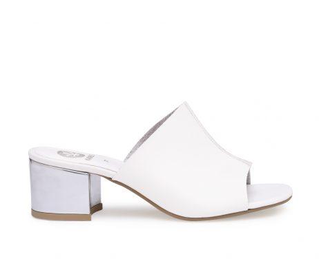 Iceberg white mules metallic heels