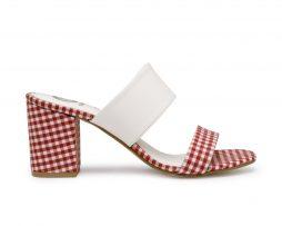 Kanabis block heels gingham red white checks