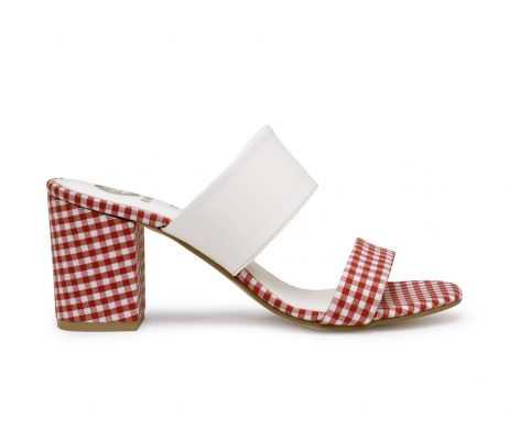 Kanabis block heels gingham red white checks