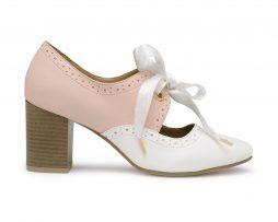 Kanabis brogues pink white block heels