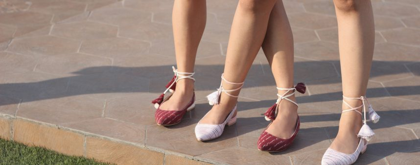 Kanabis flat lace up sandals maroon and pink