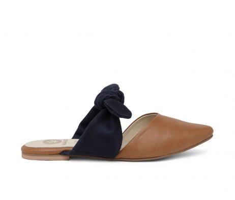 Kanabis pointed flats tan blue bow