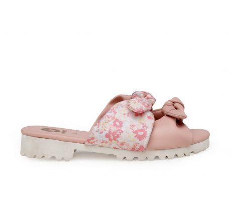 Kanabis pink bow floral summer sliders