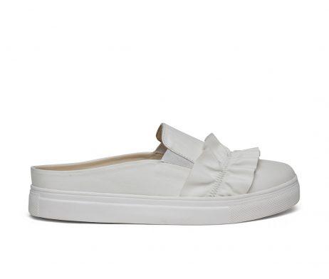Kanabis open back white frill women sneakers