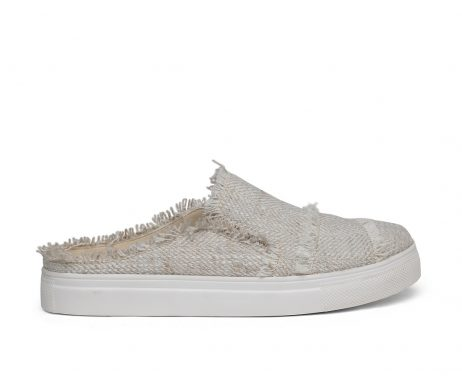 Kanabis open back beige frayed linen women sneakers